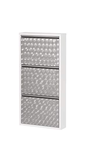 Hometrends Zapatero con 3 puertas de metal, zapatero, zapatero, ahorra espacio, diseño de galleta, color blanco