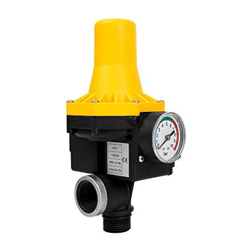 BOMT Pumpensteuerung ohne Kabel,10 Bar,Pumpen Tiefbrunnen Pumpenschalter,Druckwächter mit Baranzeige,Druckschalter für Kreisel,Automatik Trockenlaufschutz mit Manometer