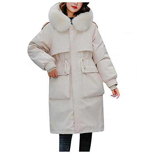 Winter Warm Cotton Padded Outwear for Women Oversize Wool Collar Thick Coat Slim Cotton Parkas Clothes White