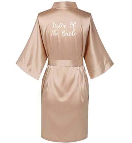 Batas De Seda Satinada Tallas Grandes Albornoz De Boda Vestido De Dama De Honor para Novia Vestido De Mujer Ropa De Dormir Dama De Honor Oro Rosa XXXL Sisterofthebri
