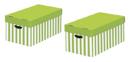 NIPS 119219128 Store-Box mit Deckel, 31 x 52 x 24.5 cm, 2-er Packung, apfelgrün/weiß