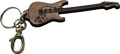 Llavero Guitarra de Cuero Genuina curtida Vegetal - Fender Stratocaster Grabado con...
