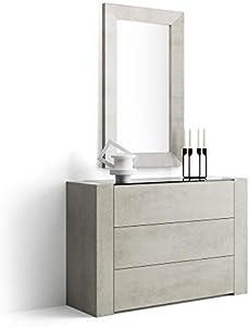 Mobili Fiver, Aparador con Tablero de Vidrio, Modelo Iacopo, Color Cemento, 120 x 40 x 80 cm