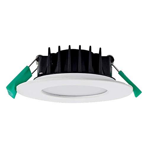 LED Einbaustrahler Dimmbar 8W Einbauleuchte LED Spots Ultra Flach 230V IP44, mit CCT-Farbänderung 3000K Warmweiß/ 4000K Neutralweiß/ 5700K Kaltweiss, Φ70-80MM Deckenspot für Bad,Küche,Außen,Weiss,1er