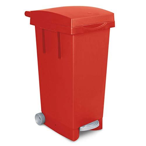 Tretabfalleimer mit Rollen, Inhalt 80 Liter, BxTxH 370 x 510 x 790 mm, rot