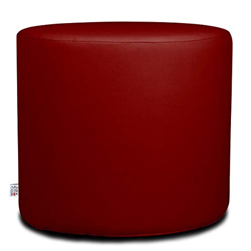 Arketicom Chill Pouf Ottoman Rond Repose Pied Tabouret Siege, Meubles Interieur Exterieur Design Made in Italy Puff Simili Cuir Tissu Fermeture Eclair, Nettoyage Facile Rouge Fonce 42x42x42 cm