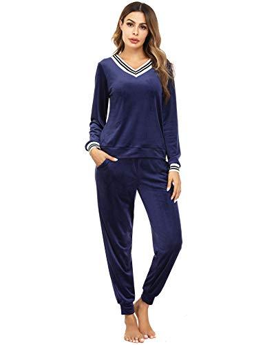 Irevial Damen Velours Hausanzug Nicki Schlafanzug Lang Winter Weicher Pyjama Anzug Set Zweiteiliger Flanell Trainingsanzug Oberteil und Hose mit Taschen Marine XXL