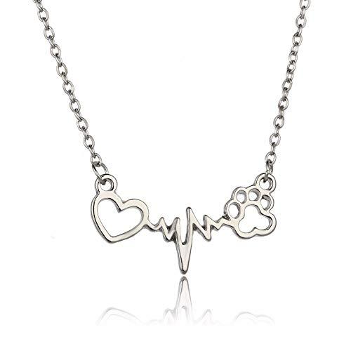 Nette Frauen Tiere Liebhaber Halsketten Katzen Hunde Haustier Pfoten Drucken Liebe Herz Herzschlag Anhänger Charme Kette Halskette Schmuck Geschenke