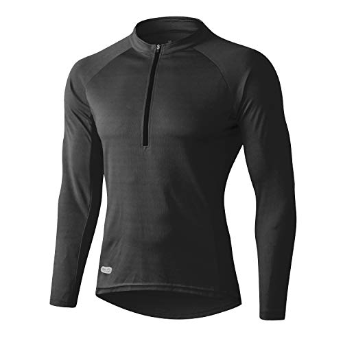 INBIKE Cycling Jerseys for Men Mountain Bike Jersey Mens Cycle Tops Shirt Team Long Sleeve Bicycle Sports Clothing (Black M)