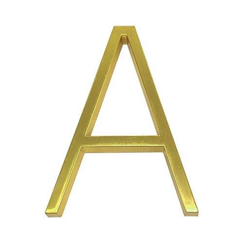 Engfgh 3D Golden Floating Moderne Hausnummer, Zink-Legierung Messing Matt Hausnummer, Verwendet for Hausnummer Digitalen Außenschild 5 Zoll (Color : A)
