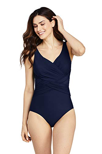 Lands' End Women's Petite Slender Tummy Control Chlorine Resistant V-Neck Wrap One Piece Swimsuit 12 Deep Sea Navy