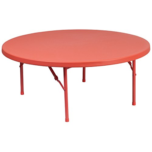 Flash Furniture 4-Foot Round Kid's Red Plastic Folding Table