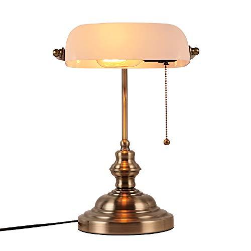 Newrays Białe szklane bankery lampa biurkowa z uchwytem wtykowym z łańcuszkiem pociągniętym, satynowe wykończenie mosiężne
