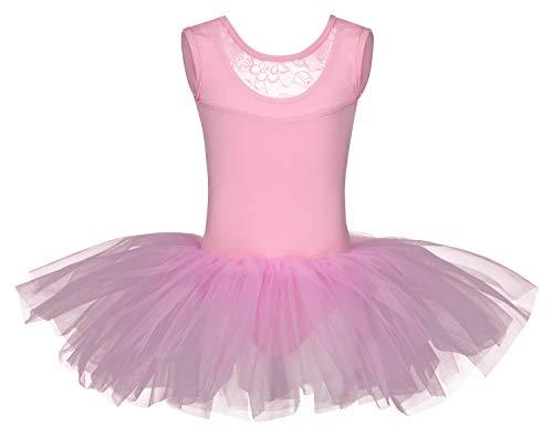tanzmuster ® Ballettkleid Mädchen Tutu - Lottie - aus weichem Baumwollmaterial mit Spitzeneinsatz vorn und Tuturock Trikot fürs Kinder Ballett in rosa, Größe:152/158