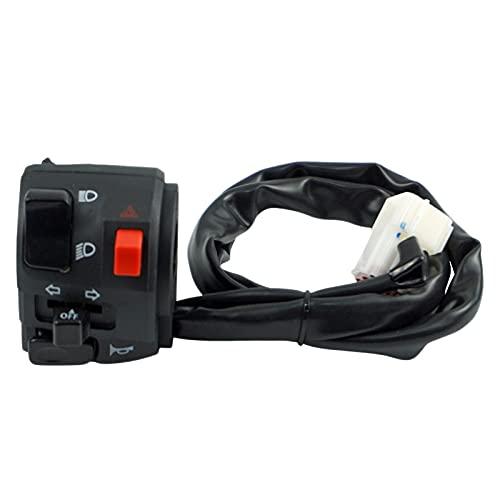 Milkvetch Motocicleta 7/8 Pulgadas 8 Pines Control de Manillar Bocina Luz de Seeal de Giro Haz Alto/BajoInterruptor Izquierdo 12V