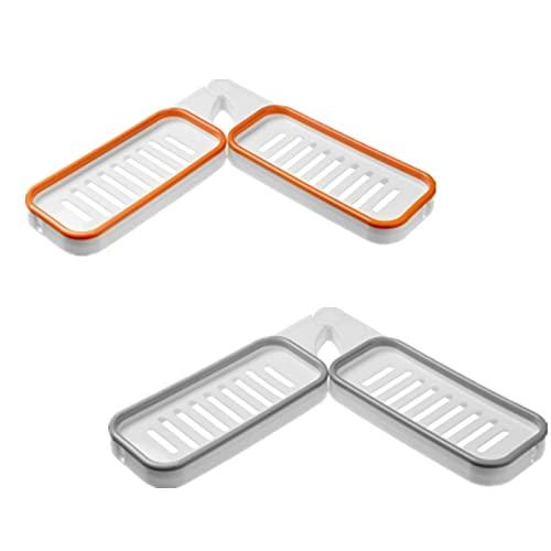 Badkamer hoek ponsvrij rek, 180 graden draaibare hoekplank, badkamer planken met zuignap keuken plank opberger (Oranje)