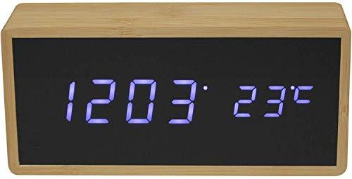 Anytime 39-1H-103 Réveil numérique LED Bambou Beige et noir Affichage LED blanc Grand modèle H7 x 4,2 x 15,2 cm