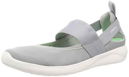 Crocs Literide Mary Jane W, Scarpe per Il Tempo Libero e Abbigliamento Sportivo Donna Unisex-Adulto, Multicolor (Grigio Chiaro/Bianco), 39 EU