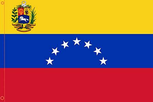 Durabol Bandera de Venezuela 7 Estrellas Flag 90x150cm Satin 2 Anillas metálicas fijadas en el Dobladillo