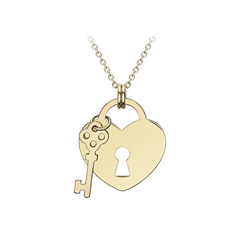 Carissima Gold Women's 9ct Yellow Gold Adjustable Necklace - Heart Padlock and Key 4.7mm x 15.9mm - Lenght 41cm/16'-43cm/17'