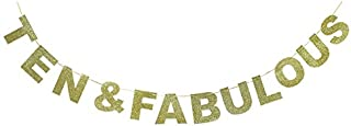 Hatcher lee Ten Fabulous Banner Gold Glitter for Wedding Anniversary 10th Birthday 10 Years Old Party Decoration Sign Ideas