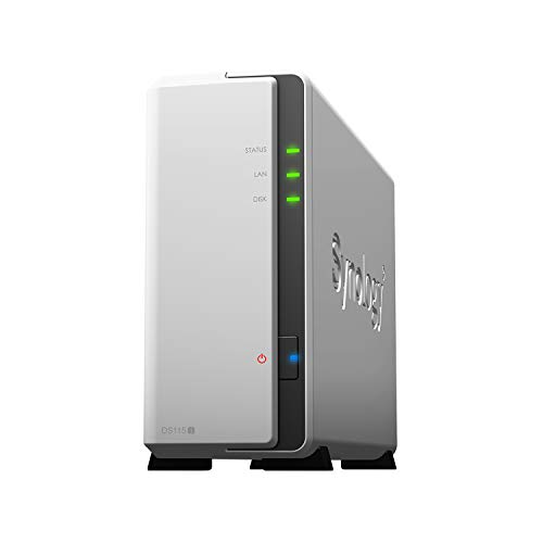 Synology DS115J NAS-server (Marvell Armada 370 processor, 800 MHz, SATA, Gigabit LAN, 1-Bay) omheining Enclosure wit