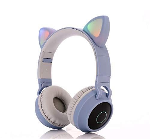 Hoofdtelefoon voor kinderen, meisjes, hoofdtelefoon + oren voor kat, verstelbare hoofdband, 105 dB volume, zacht en comfortabel, hoofdtelefoon voor iPhone, iPad, Android, pc-computer Blauw en grijs