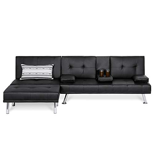 Best Choice Products Faux Leather Upholstery 3-Piece Modular Modern Living Room Sofa Sectional Furniture Set w/Convertible Double Futon Bed, Single-Seat Futon, and Footstool, Reclining Backrests