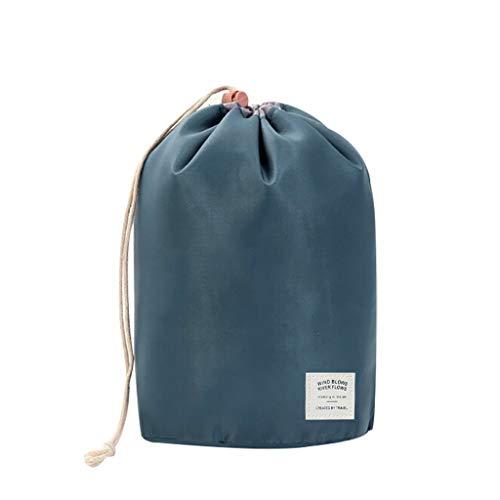 Sac de rangement à voyage Snlaevx 23x17x17cm trousses à maquillage de baril portable Stockage d'organisateur à cordon pour Articles de toilette (Bleu)