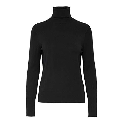 ONLY Damen ONLVENICE L/S Rollneck Pullover KNT NOOS Rollkragenpullover, Schwarz (Black Black), Large (Herstellergröße: L)
