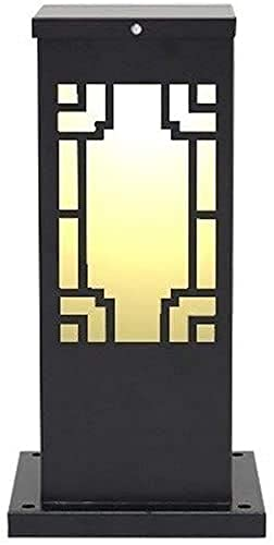 Lámpara de césped para exteriores, estilo chino, vintage, impermeable, para la calle, luz, aluminio, a prueba de herrumbre, lámpara de columna retro, linterna de vidrio, E27, parque comunitario, cam