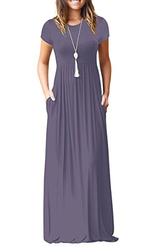 Euovmy Women's Casual Loose Short Sleeve Maxi T-Shirt Dresses with Pockets Purple Gray Medium
