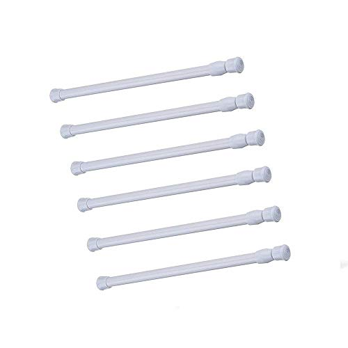 Tension Rods, 6 Pack Adjustable Spring Steel Cupboard Bars Tension Curtain Rod Shower Rod Closet Rod Tensions Rod Extendable Width 28-48 Inches