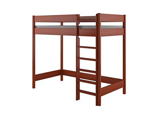 Hubi Loft Stapelbed voorzijde invoeren 180x90x160 Palisander