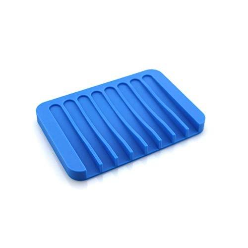 SXCYU creatieve siliconen zeephouder met afvoer badkameraccessoires mallen voor zeep gootsteen spons afvoer zeepbakje plaat, diepblauw