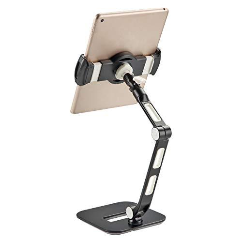 Bracwiser Aluminium Tablet Schreibtischständer für iPad, iPhone, Samsung, Asus und mehr 4,7-11 Zoll Geräte, 360 ° Flexible Handyhalterung, anwendbar für Zuhause, Büro, Geschäft. YFD208B Schwarz