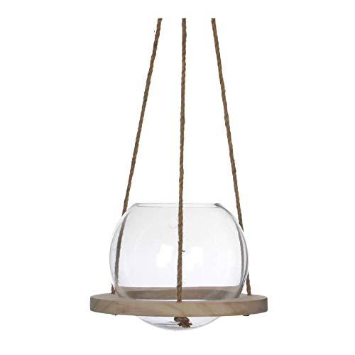 L'Héritier Du Temps Grote hanglamp, globe houder, kandelaar, van glas, met touw, 20 x 28 x 28 cm