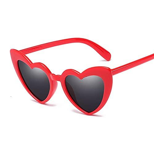 CZFSKCZ Gafas de Sol, Moda Amor Gato Gafas de Sol Gafas de Sol Gafas de Sol Degradado Retro Color de Las Mujeres Color (Lenses Color : Red Gray)