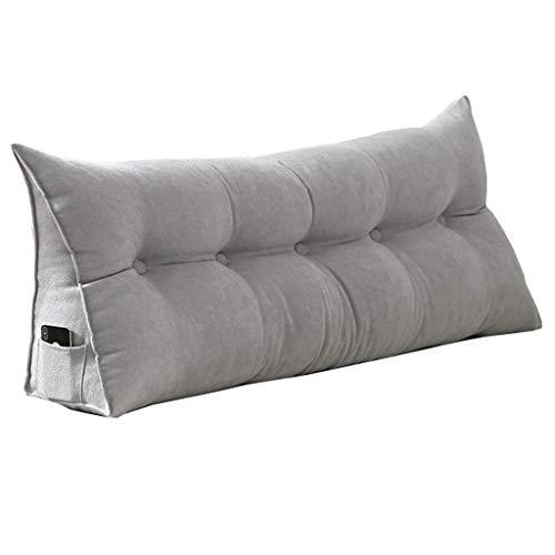 NS Cabecera Cojín De Cuña Respaldo De Lectura Junto A La Cama Almohada Sofa Cama Cojín Grande Almohada De Apoyo Desmontable con Lavable Funda (Color : Gray, Size : 60cm/24in)