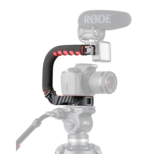 ULANZI U-Grip Pro Handheld Video Rig Steadicam with Triple Cold Shoe, Stabilizing Handle Grip Compatible for iPhone 12 11 Pro Max Xs 8 7 plus GoPro 8 7 6 5 Canon Nikon Sony DSLR Cameras