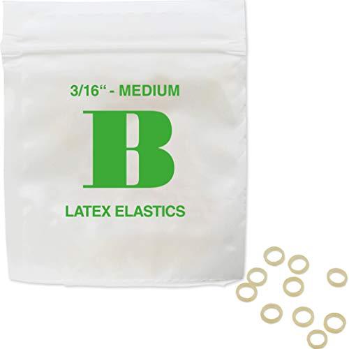 Patientenshop Intraorale Elastics aus bestem chirurgischen Latex, Grün B, Medium 3,5 oz, Durchmesser 4,8 mm, 100 Stk Zahnspangen Gummis