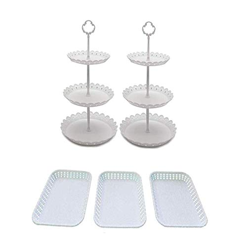 Set of 5 Dessert Stand Pieces Includes 3Tier Round Cupcake Holder Rectangular Plate Tray for Wedding Birthday Party Fruits Desserts Candy Bar Display