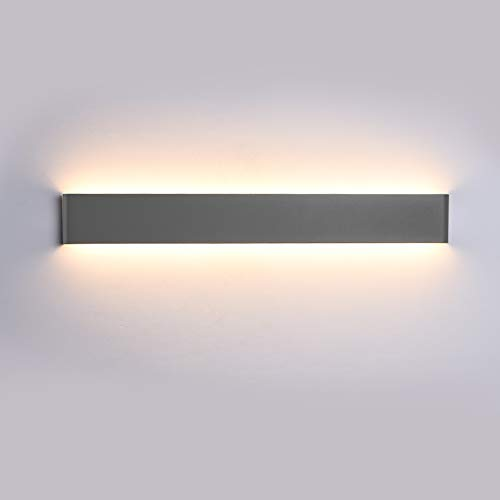 K-Bright Spiegel Wandleuchten, 20W,IP44,61cm, ,Spiegellampe,AC 220V Wandleuchte,Dekorative Licht Nachtlampe,Dunkelgrau, warmweiß