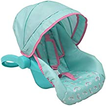 KOOKAMUNGA KIDS Rainbow Doll Car Seat & Carrier - Adjustable Canopy, Padded Headrest, Padded Straps, Movable Handle and 5 Point Harness