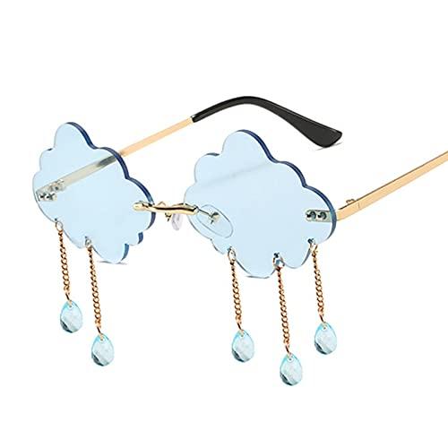 FEINENGSHUAInstyj Gafas Sol Mujer, Moda Nubes Redondas Gafas de Sol Mujeres Vintage sin Montura Borla Gafas de Sol de Lujo Femenino (Lenses Color : Blue)