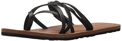 Volcom Women's Happy Multi Strap Fashion Sandal Flat, Black, 8 B US