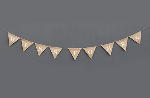Boston Creative company LLC Miss to Mrs Banner - Bridal Shower - Miss to Mrs Bunting Garland - Engaged Garland - Bridal Shower Décor - Burlap Rustic Shower Sign - Bridal Shower Banner - Hen Party