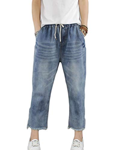 FTCayanz Women's Elastic Waist Cropped Jeans Baggy Drawstring Stretch Denim Pants with Pockets Style 2 L