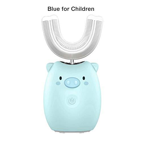 HYY Kinder elektrische Zahnbürste Cartoon Blu-ray Whitening Zähne Pinsel wiederaufladbare wasserdichte Sound Wave Sonic automatische Mund montiert U-förmige Zahnbürste