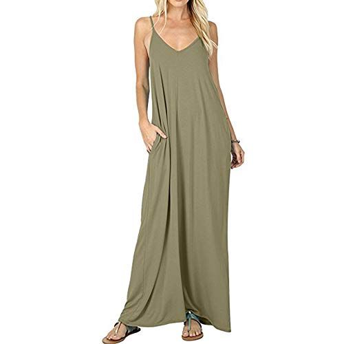 Krismile Women's Maxi Strappy Sleeveless Solid Dresses Now $15.99 (Was $40)